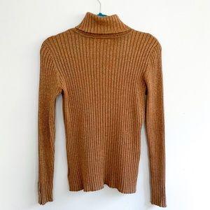 Charter Club Metallic Gold Turtleneck Sweater